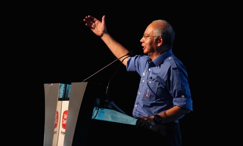 KLANG 3 May 2013. Prime Minister Datuk Seri Najib Tun Razak delivers a speech during the launch of Affordable Homes Sime Darby Property at Bandar Bukit Raja. Photo Adib Rawi Yahya
