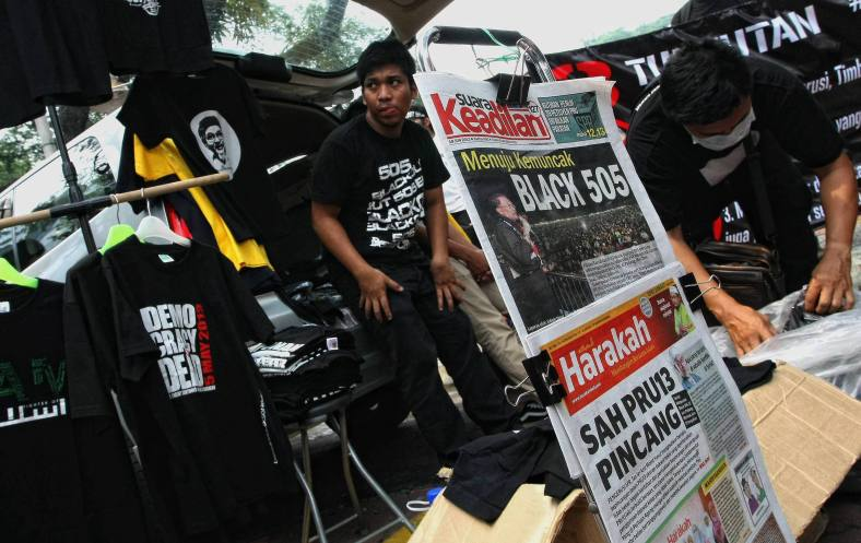 KUALA LUMPUR 23 June 2013. Demonstrators gathered during the Black 505 rally to protest against the decision of the General Election 13th alleged vote fraud occurred at Padang Merbok. Photo Adib Rawi Yahya