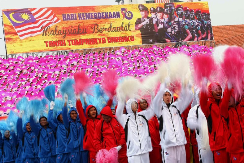 "Malaysian students perform during the Independence Day celebrations at Merdeka Square August 31, 2013. Independence Day or ""Hari Merdeka"" is a national day of Malaysia commemorating the independence of the Federation of Malaya from British colonial rule in 1957 and celebrated on August 31 each year. Photo Adib Rawi Yahya"