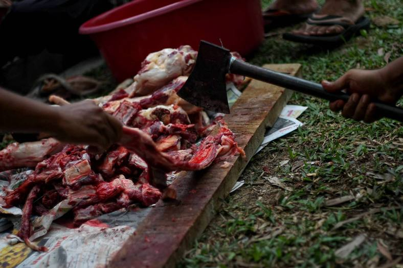 A man butchers a cow that was slaughtered during the Eid al-Adha festival at Putrajaya outside Kuala Lumpur on October 15, 2013. Eid al-Adha is an important religious holiday celebrated by Muslims worldwide to honour the willingness of the prophet Ibrahim to sacrifice his young first-born son Ismail a as an act of submission to Allah's command and his son's acceptance to being sacrificed, before Allah intervened to provide Abraham with a lamb to sacrifice instead. Photo Adib Rawi Yahya