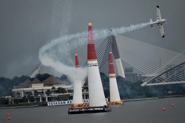 A Master class pilot perform during the final session the Red Bull Air Race World Championship 2014 in Putrajaya on May 18, 2014. The tournament was held over two days from May 17 to May 18, 2014. Photo Adib Rawi Yahya