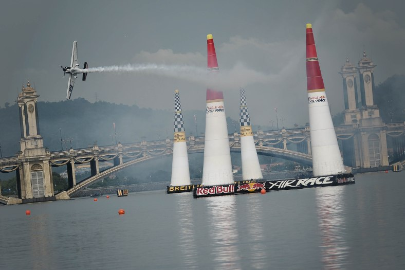Michael Goulian from USA using aircraft type Zivko Edge 540 V2 action during the Red Bull Air Race World Championship 2014 in Putrajaya on May 17, 2014. The tournament was held over two days from May 17 to May 18, 2014. Photo Adib Rawi Yahya