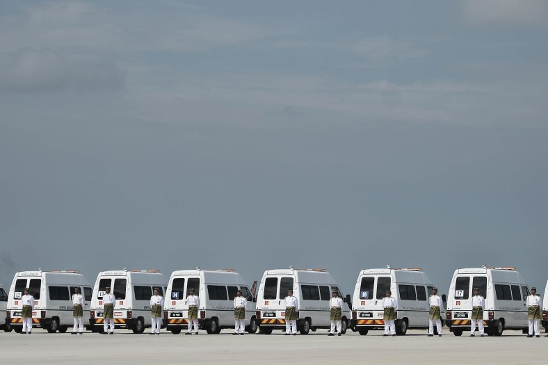 Hearses carrying the remains of the victims of Malaysia Airlines (MAS) flight MH17 plane crash during rehearsal of the ceremony honouring on August 22, 2014. A plane bring back home the first remains of the 43 Malaysians on the ill-fated Malaysia Airlines plane that was shot down in east of Ukraine on July 17 during a flight from Amsterdam to Kuala Lumpur. In total 298 people lost their lives in the tragedy. Photo Adib Rawi Yahya