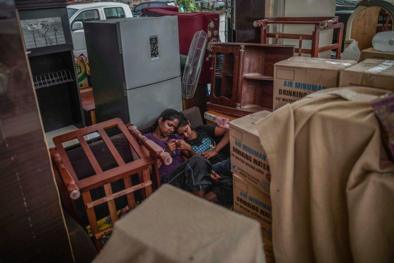 Flood victims sleep at evacuation centres due to their house was flooded in heavy rains at Temerloh, Pahang on January 04, 2015. In Pahang, 29,547 evacuees were recorded in 126 centres in seven affected areas. Temerloh has the 2nd largest number of victims with 10,576 people after Pekan. photo Adib Rawi Yahya