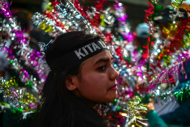 """A supporter of Malaysia's opposition leader Anwar Ibrahim wears a headband 'Kita Lawan' that translates to """"we will fight"""" during 'KitaLawan' (We Fight) rally in Kuala Lumpur on March 28, 2015. #KitaLawan rally today will call for opposition leader Datuk Seri Anwar Ibrahim's release from jail where he is serving time for sodomy, and for Prime Minister Datuk Seri Najib Razak's resignation. The demonstration has added opposition to the 6% goods and services tax (GST) to today's agenda and also coincides with the wedding reception of Najib's daughter, Nooryana Najwa, held at the Kuala Lumpur Convention Centre on the same day. photo Adib Rawi"""