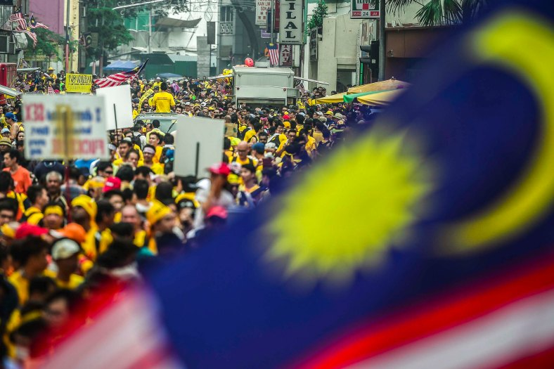 Protesters gather near Dataran Merdeka during the second day Bersih 4.0 rally on August 30, 2015. The Bersih 4.0 rally is a series of planned rallies to be carried out on 29 to 30 August in major cities in Malaysia, namely Kuching, Kota Kinabalu and Kuala Lumpur. This rally being carried out with the objective to seeking the resignation of Malaysian Prime Minister Najib Tun Razak and calling for clean governance in Malaysia and follow up to similar rallies that were carried out in 2007, 2011 and 2012. The assembly is being held for 34 hours, starting at 2:00 pm on August 29 until the Merdeka countdown on August 31. However, the rally ended peacefully. photo adib rawi yahya