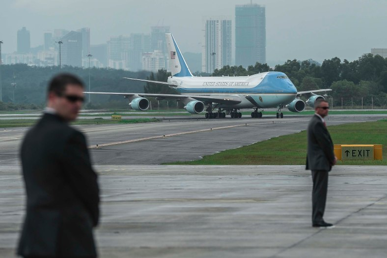 US Airforce One with US President Barack Obama onboard arrive at the Royal Malaysian Air Force (RMAF) base in Subang outside Kuala Lumpur on November 20, 2015. Barrack Obama will attend the 27th Association of South East Asian Nations (ASEAN) Summit that has takes place in Malaysia from November 18-22 2015. photo Adib Rawi Yahya