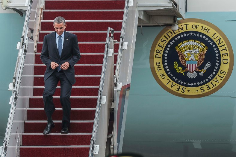 US President Barack Obama arrives with Air Force One at the Royal Malaysian Air Force (RMAF) base in Subang outside Kuala Lumpur on November 20, 2015. Barrack Obama will attend the 27th Association of South East Asian Nations (ASEAN) Summit that has takes place in Malaysia from November 18-22 2015. photo Adib Rawi Yahya