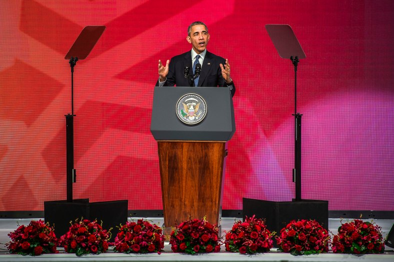 US President Barack Obama speech during the Asean Business and Investment Summit in Kuala Lumpur on November 21, 2015. Barrack Obama attend the 27th Association of South East Asian Nations (ASEAN) Summit that has takes place in Malaysia from November 18-22 2015. photo Adib Rawi Yahya