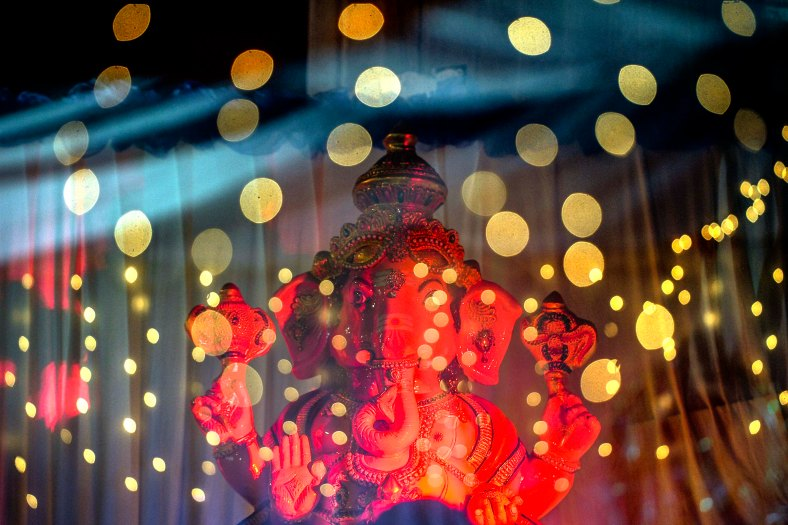A picture taken with the multiple exposure function of the camera shows Lord Vinayagar at the temple during the Thaipusam festival at Batu Caves outskirts of Kuala Lumpur on February 09, 2017. The Hindu festival of Thaipusam, which commemorates the day when Goddess Pavarthi gave her son Lord Muruga an invincible lance with which he destroyed evil demons, is celebrated by some two million ethnic Indians in Malaysia and Singapore. photo Adib Rawi Yahya